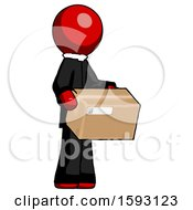 Red Clergy Man Holding Package To Send Or Recieve In Mail
