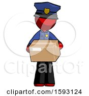 Red Police Man Holding Box Sent Or Arriving In Mail