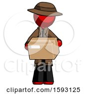 Red Detective Man Holding Box Sent Or Arriving In Mail