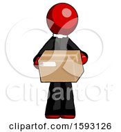 Red Clergy Man Holding Box Sent Or Arriving In Mail