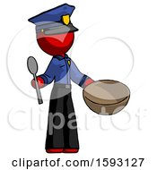 Red Police Man With Empty Bowl And Spoon Ready To Make Something