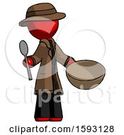 Red Detective Man With Empty Bowl And Spoon Ready To Make Something