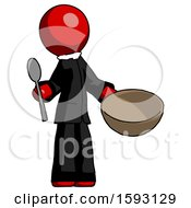 Red Clergy Man With Empty Bowl And Spoon Ready To Make Something