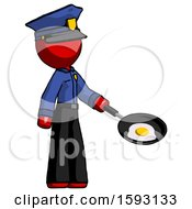 Red Police Man Frying Egg In Pan Or Wok Facing Right