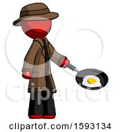 Red Detective Man Frying Egg In Pan Or Wok Facing Right