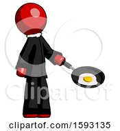 Red Clergy Man Frying Egg In Pan Or Wok Facing Right