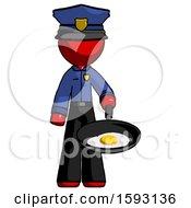 Red Police Man Frying Egg In Pan Or Wok