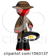 Red Detective Man Frying Egg In Pan Or Wok