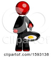 Red Clergy Man Frying Egg In Pan Or Wok