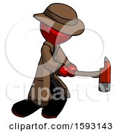 Red Detective Man With Ax Hitting Striking Or Chopping