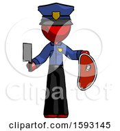 Red Police Man Holding Large Steak With Butcher Knife