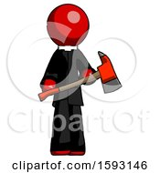 Red Clergy Man Holding Red Fire Fighters Ax