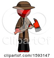 Red Detective Man Holding Red Fire Fighters Ax