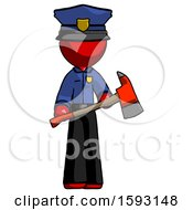 Red Police Man Holding Red Fire Fighters Ax