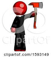 Red Clergy Man Holding Up Red Firefighters Ax