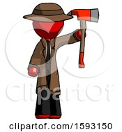 Red Detective Man Holding Up Red Firefighters Ax