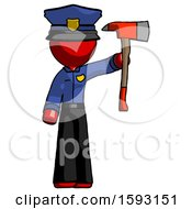 Red Police Man Holding Up Red Firefighters Ax