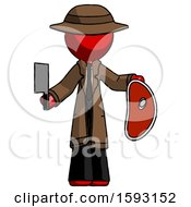 Red Detective Man Holding Large Steak With Butcher Knife