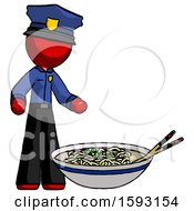 Red Police Man And Noodle Bowl Giant Soup Restaraunt Concept