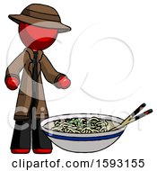 Red Detective Man And Noodle Bowl Giant Soup Restaraunt Concept