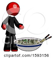 Red Clergy Man And Noodle Bowl Giant Soup Restaraunt Concept