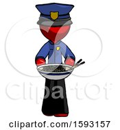 Red Police Man Serving Or Presenting Noodles