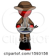 Red Detective Man Serving Or Presenting Noodles