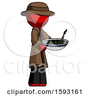 Red Detective Man Holding Noodles Offering To Viewer