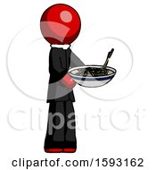 Red Clergy Man Holding Noodles Offering To Viewer