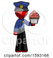 Red Police Man Presenting Pink Cupcake To Viewer