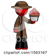 Red Detective Man Presenting Pink Cupcake To Viewer