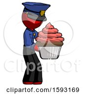 Red Police Man Holding Large Cupcake Ready To Eat Or Serve