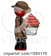 Red Detective Man Holding Large Cupcake Ready To Eat Or Serve