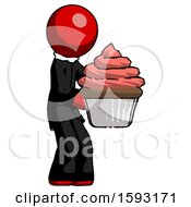 Red Clergy Man Holding Large Cupcake Ready To Eat Or Serve