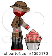 Red Detective Man With Giant Cupcake Dessert
