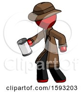 Red Detective Man Begger Holding Can Begging Or Asking For Charity Facing Left