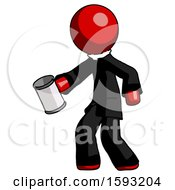 Red Clergy Man Begger Holding Can Begging Or Asking For Charity Facing Left