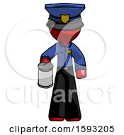 Red Police Man Begger Holding Can Begging Or Asking For Charity