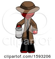 Red Detective Man Begger Holding Can Begging Or Asking For Charity