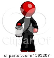 Red Clergy Man Begger Holding Can Begging Or Asking For Charity
