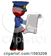 Red Police Man Holding Blueprints Or Scroll