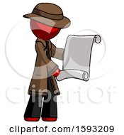 Red Detective Man Holding Blueprints Or Scroll