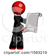 Red Clergy Man Holding Blueprints Or Scroll