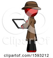 Red Detective Man Looking At Tablet Device Computer With Back To Viewer