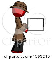 Red Detective Man Show Tablet Device Computer To Viewer Blank Area