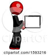 Red Clergy Man Show Tablet Device Computer To Viewer Blank Area