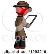 Red Detective Man Looking At Tablet Device Computer Facing Away