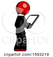 Red Clergy Man Looking At Tablet Device Computer Facing Away