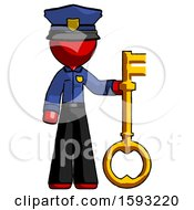 Red Police Man Holding Key Made Of Gold