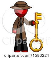Red Detective Man Holding Key Made Of Gold